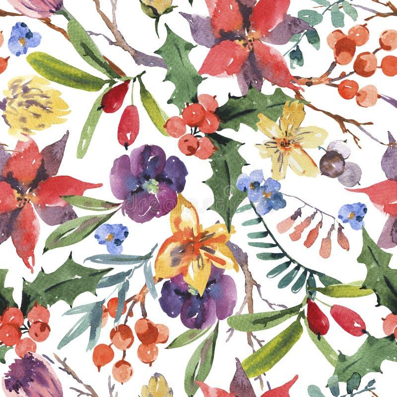 Zimy kwiecistej akwareli bezszwowy wzór z gałąź, holly ilustracja wektor