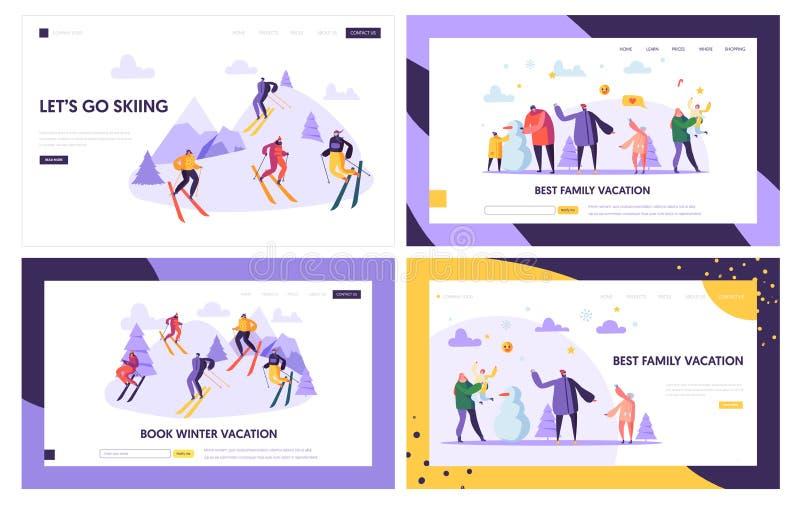 Zimy lądowania strony Urlopowy szablon Aktywni ludzie charakterów na ośrodku narciarskim, Rodzinni wakacje, zima sportów strona i ilustracji