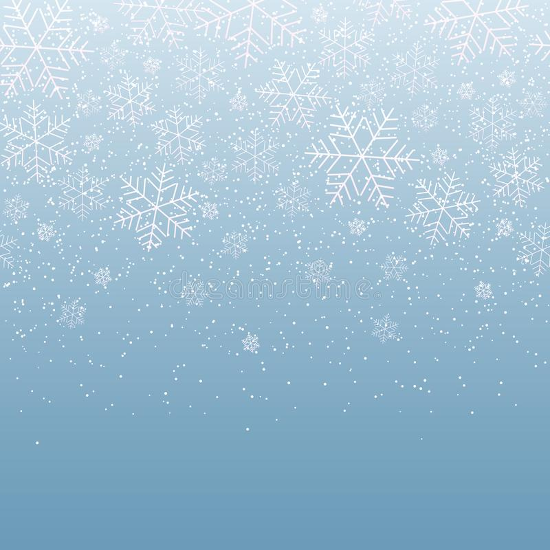 Zimy lekki świąteczny tło z spada płatek śniegu dla bożych narodzeń i nowego roku śniegu Dekoracyjny wzór dla pocztówkowego zapro royalty ilustracja