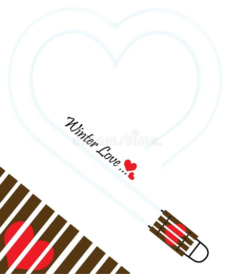 Zimy miłość - Szczęśliwa walentynka dnia prezenta karta obraz stock