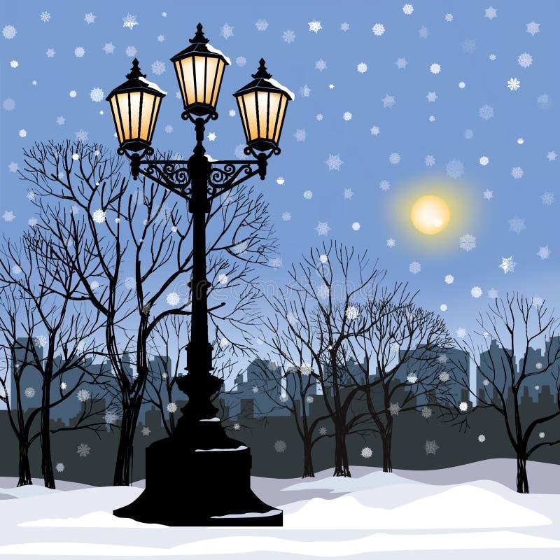Zimy miasta krajobraz Parkowa aleja w zimie royalty ilustracja