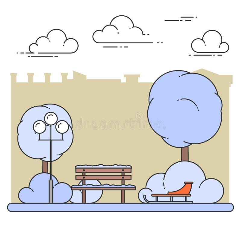 Zimy miasta krajobraz z ławką, sanie w centrala parku również zwrócić corel ilustracji wektora Kreskowa sztuka ilustracja wektor