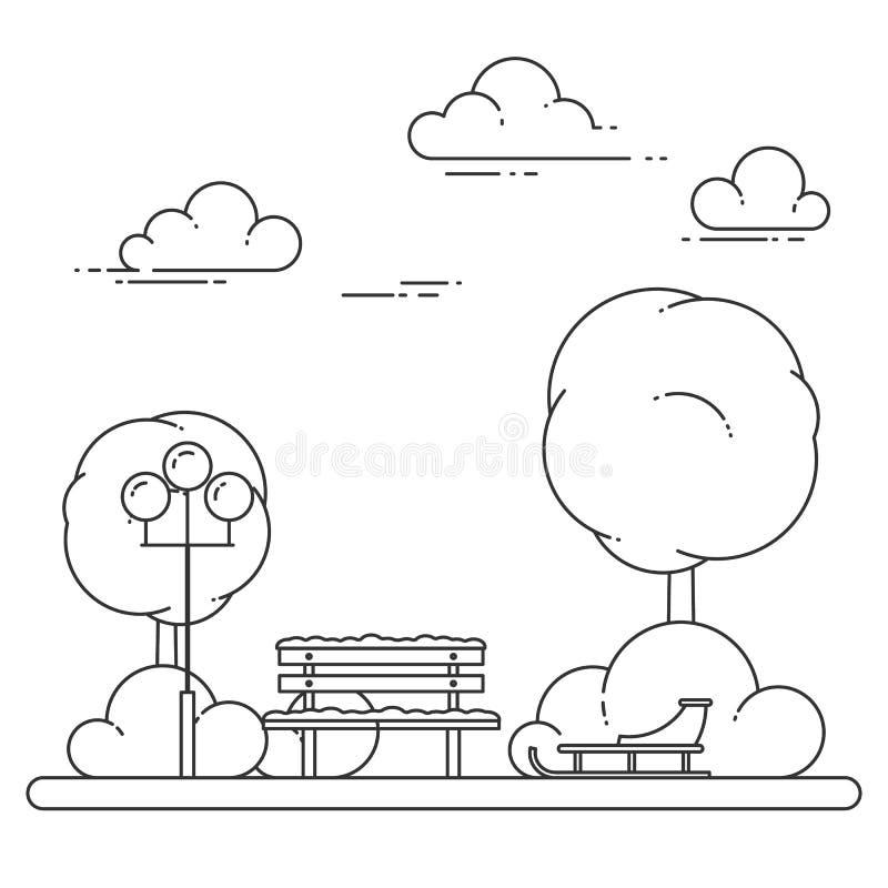 Zimy miasta krajobraz z ławką, sanie w centrala parku również zwrócić corel ilustracji wektora Kreskowa sztuka ilustracji
