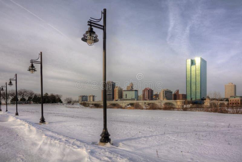 Zimy miasta linia horyzontu zdjęcie royalty free