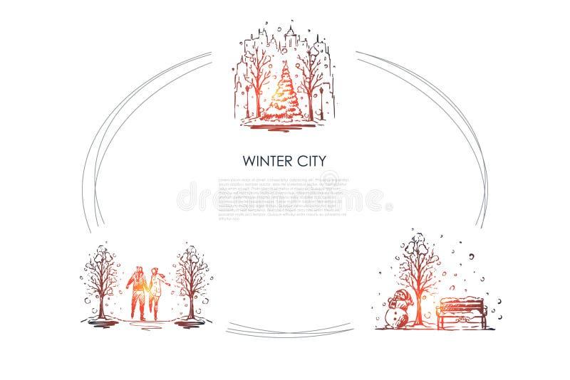 Zimy miasto - miastowi krajobrazy pod opad ?niegu i lud?mi chodzi w zimie parkuj? wektorowego poj?cie set royalty ilustracja