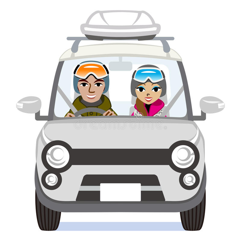 Zimy mody para jedzie Srebnego samochód - Odosobnionego ilustracja wektor