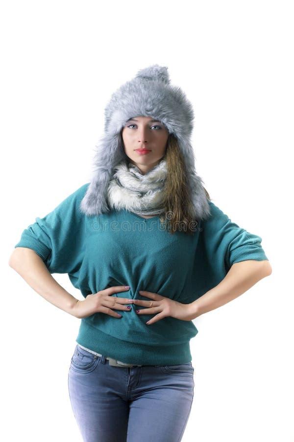 Zimy mody portret obraz stock