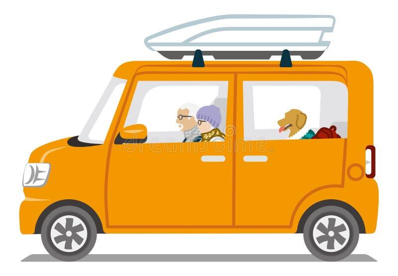 Zimy mody Starsza para jedzie Pomarańczowego koloru samochód - Odosobnionego royalty ilustracja