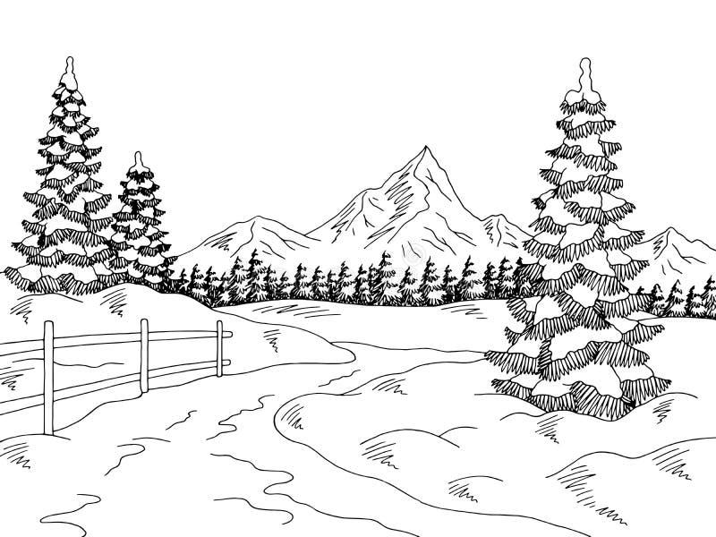 Zimy nakreślenia krajobrazu ilustraci drogowy graficzny czarny biały wektor ilustracji