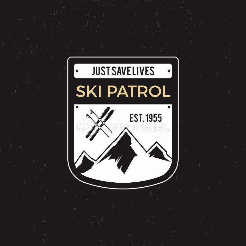 Zimy narty patrolu etykietka z narciarskim wyposażeniem i górami Rocznik przygody krańcowa odznaka Outdoors loga projekt Podróż ilustracji