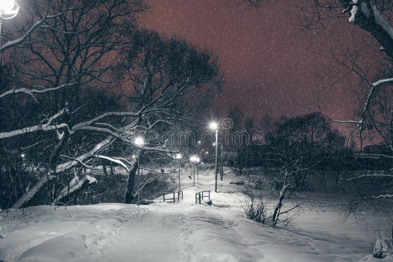 Zimy natury krajobraz w wieczór z rozjarzonymi lampionami i drogą opuszcza w odległość zakrywającą z snowr zdjęcie royalty free