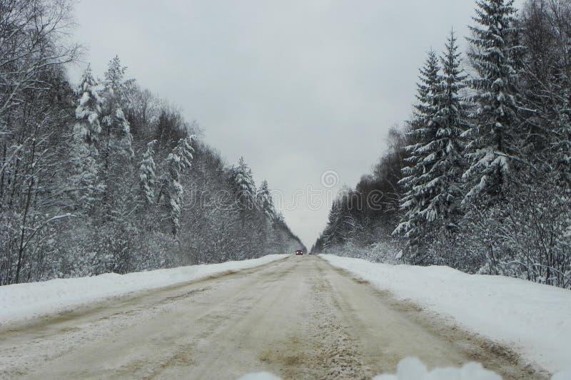 Zimy ?nie?ysta droga Pi?kny las, natura i droga zakrywaj?cy z ?niegiem, Szczeg??y w g?r? i zdjęcie royalty free