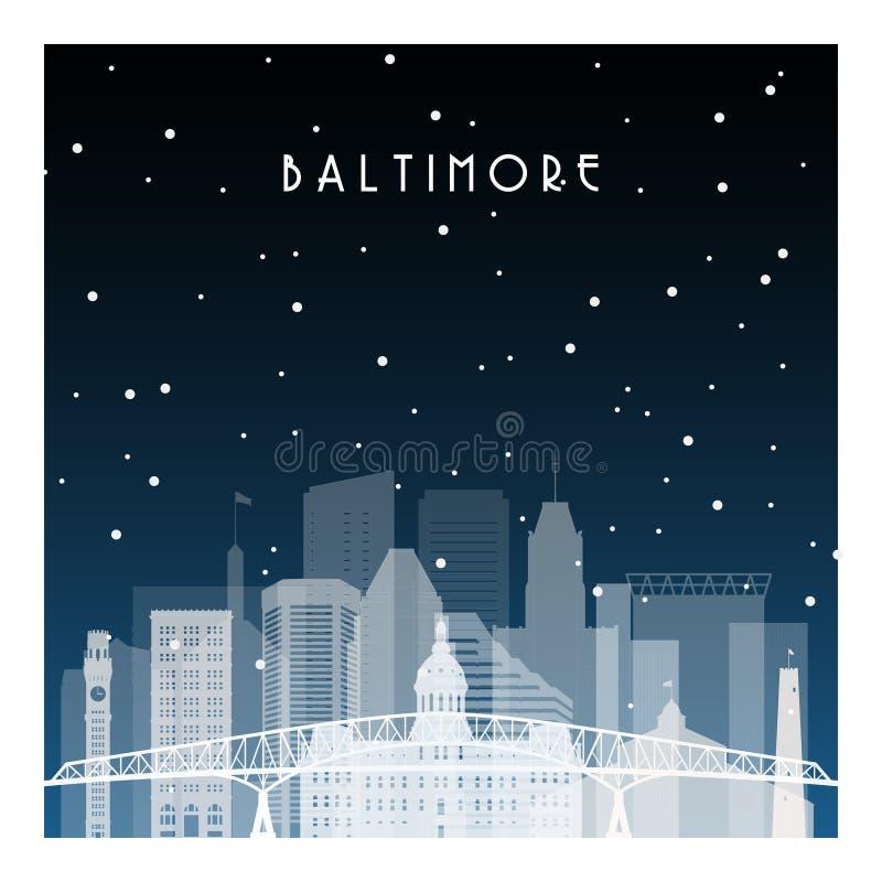 Zimy noc w Baltimore ilustracja wektor