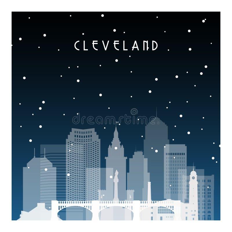 Zimy noc w Cleveland ilustracja wektor