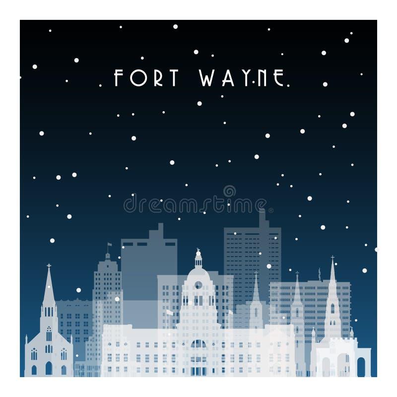 Zimy noc w Fort Wayne ilustracja wektor