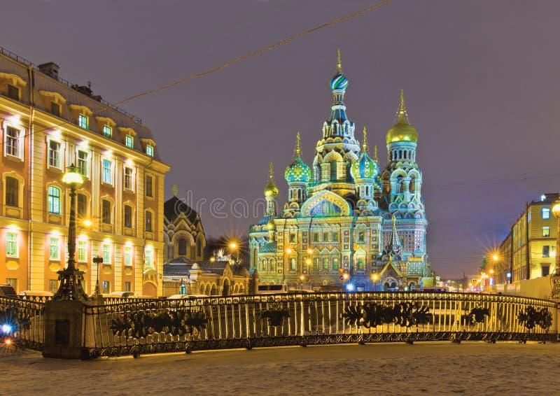 Zimy noc w Petersburg fotografia stock