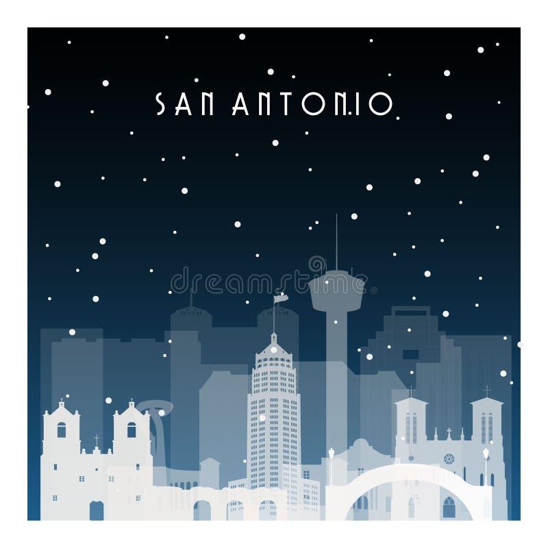 Zimy noc w San Antonio royalty ilustracja