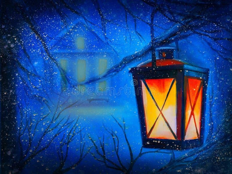 Zimy noc z domem i lampionem ilustracji