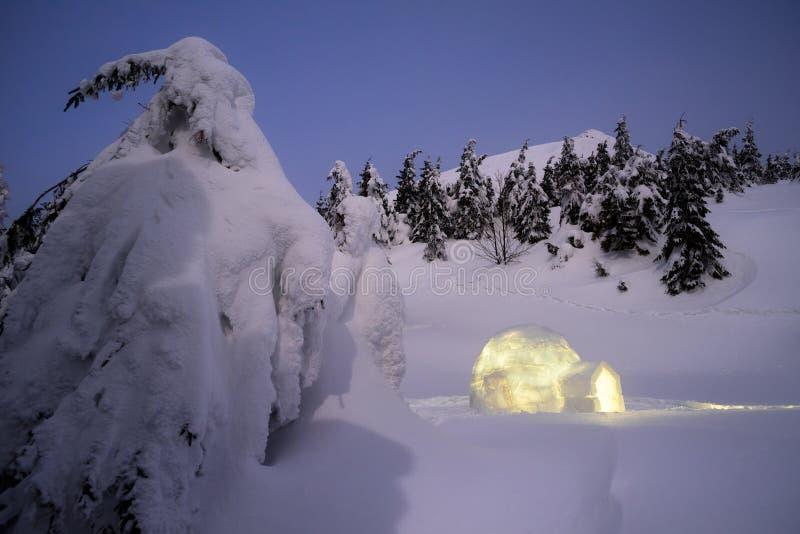 Zimy nocy krajobraz z śnieżnym igloo fotografia stock