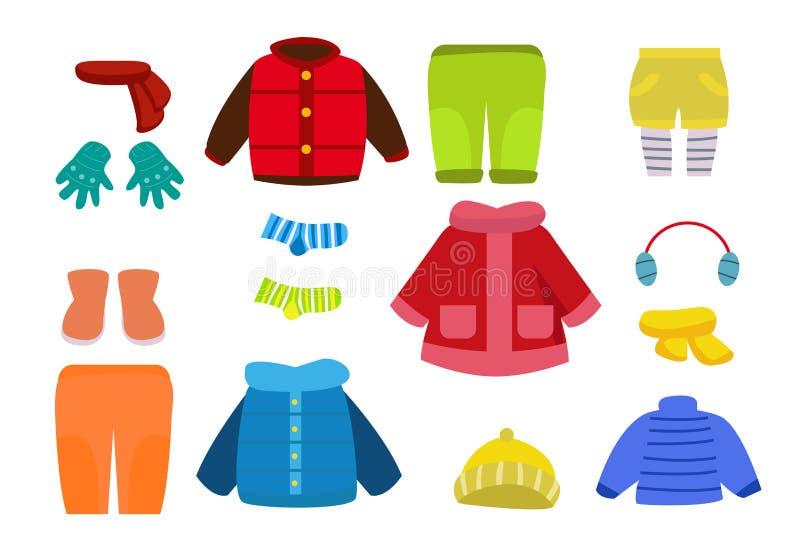 Zimy odzieżowa kolekcja ilustracji