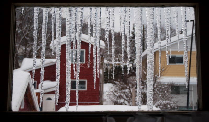 Zimy okno obraz stock