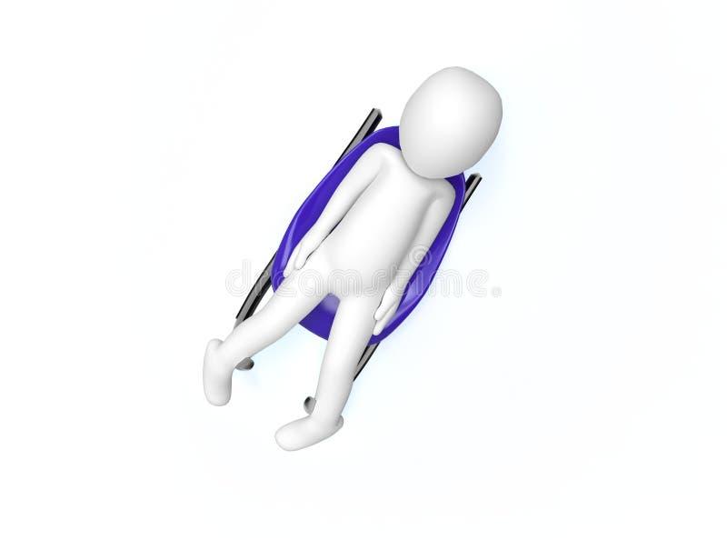 Zimy Olimpic gry. Saneczkarski. 3d mężczyzna jedzie tobogan ilustracja wektor