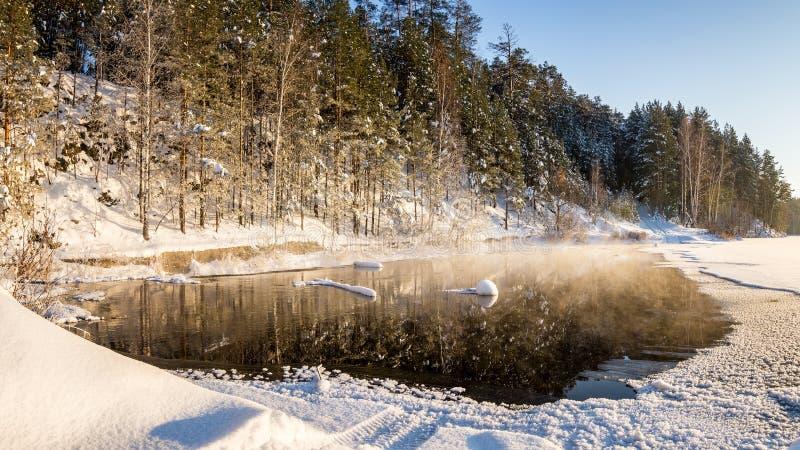 Zimy panorama zamarznięty jezioro w śnieżnym lesie z mgłą nad wodą, Rosja, obrazy royalty free