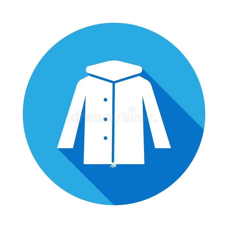 Zimy Parka kurtki ikona z długim cieniem Znaki i symbole mogą używać dla sieci, logo, mobilny app, UI, UX ilustracji
