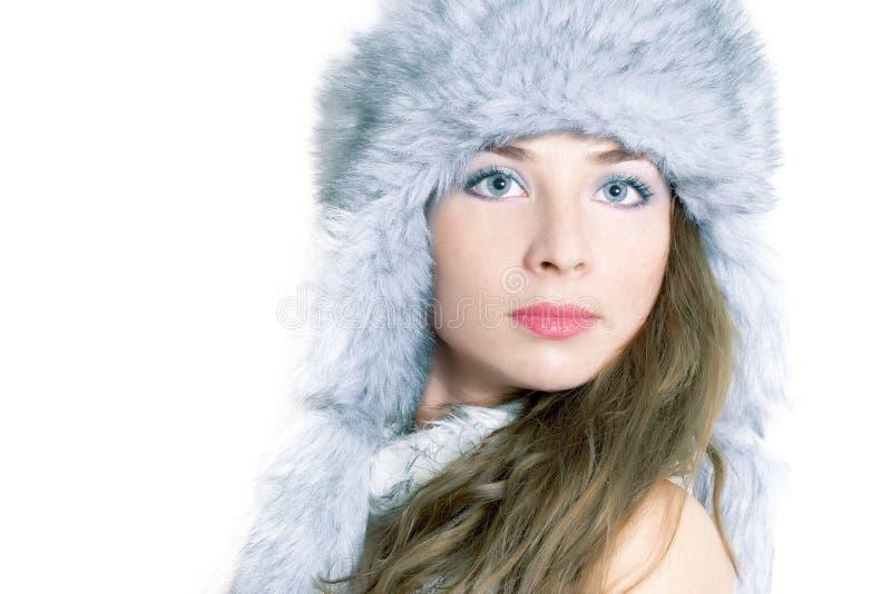 Zimy piękna portret zdjęcie royalty free