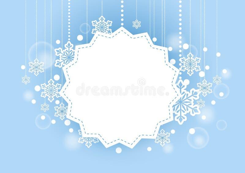 Zimy Piękny tło z Śnieżnymi płatkami Wiesza i biel przestrzeń dla słów royalty ilustracja