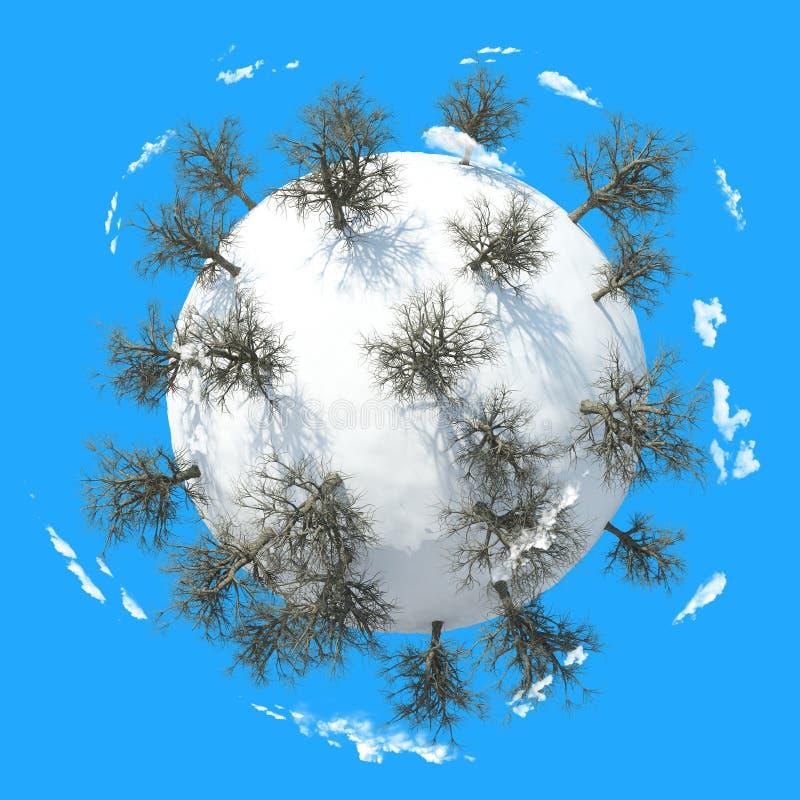 Zimy planeta 3D ilustracji