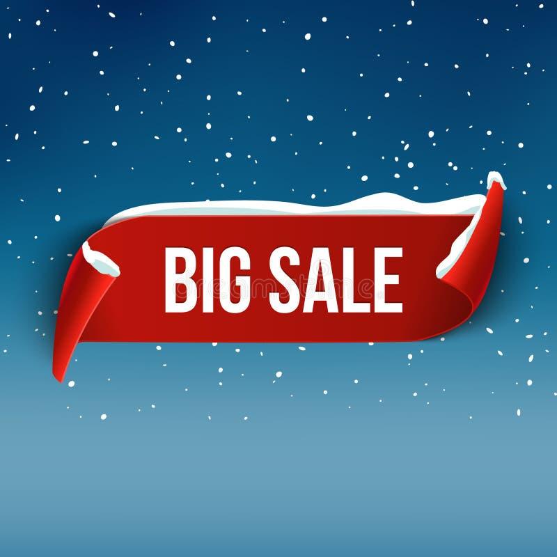 Zimy pluskwy sprzedaży tło z czerwonym realistycznym faborkiem Zima plakat lub sztandaru promocyjny projekt z śniegiem ilustracja wektor