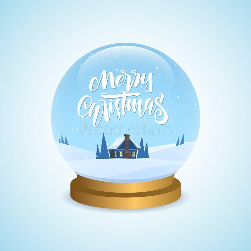 Zimy powitania śnieżna kula ziemska z kreskówka domowym i ręcznie pisany typ literowanie Wesoło boże narodzenia royalty ilustracja