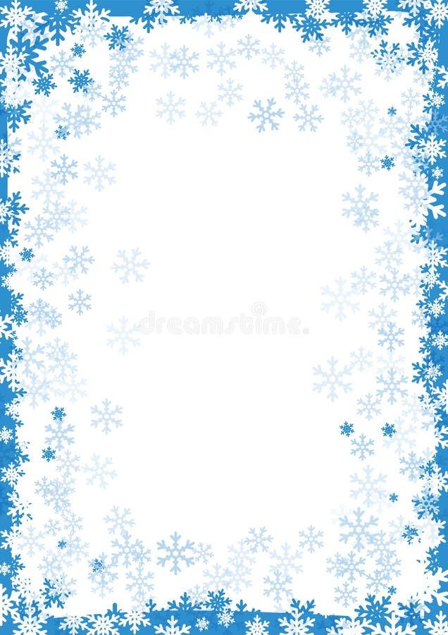 Zimy rama, śnieg granica z płatek śniegu na białym tle Śnieżny abstrakcjonistyczny tło dla bożych narodzeń i nowego roku royalty ilustracja