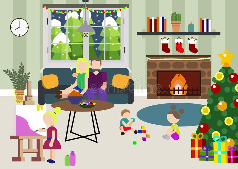 Zimy rodzina przy przyjęcie gwiazdkowe nocą Rodzinny nowego roku wakacje set Rodzice i dzieci świętuje wpólnie boże narodzenia ilustracji