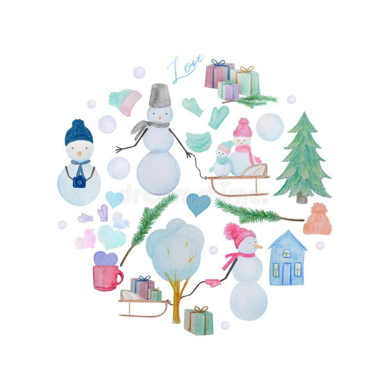 Zimy round skład bałwany rysujący z barwionymi akwarela ołówkami ilustracji