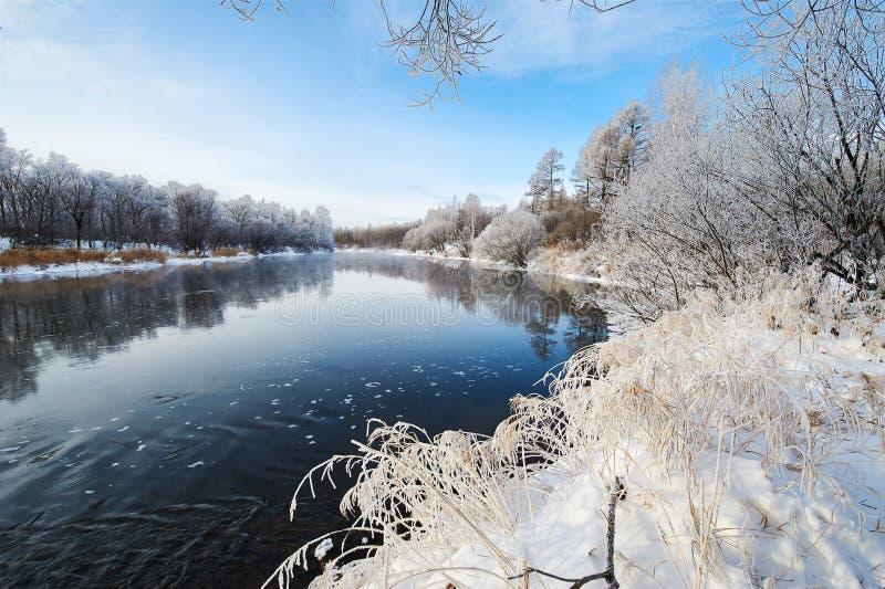 Zimy rzeki sceneria zdjęcia stock