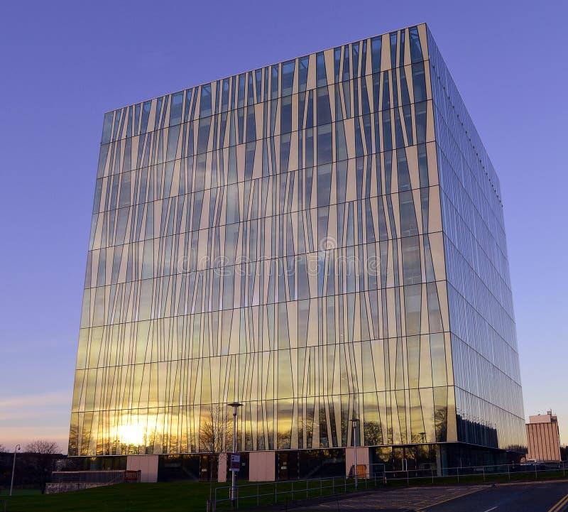 Zimy słońce na Aberdeen Uniwersyteckiej Nowej bibliotece, Szkocja fotografia royalty free