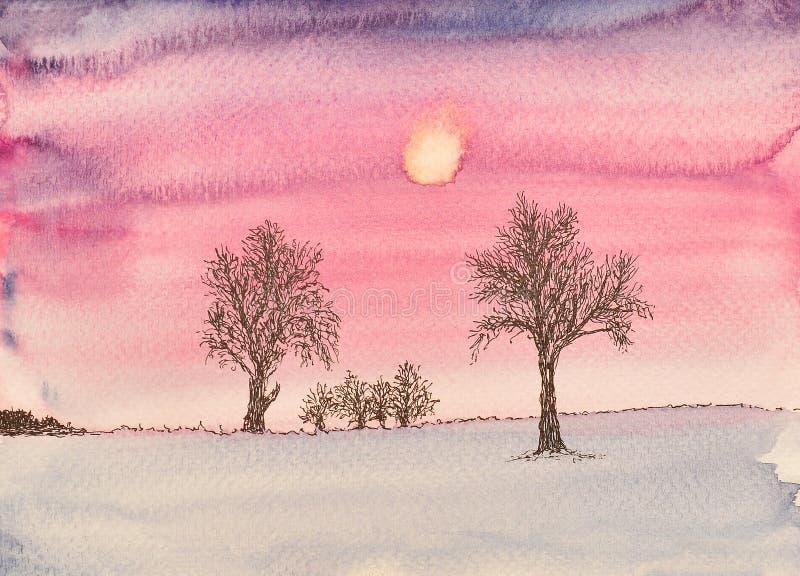 Zimy scena, akwarela obraz royalty ilustracja