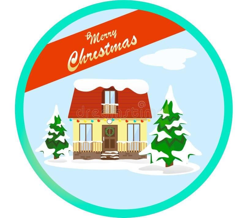Zimy scena z dekorującym domem dla bożych narodzeń w śniegu w stylu mieszkania Jodły w śniegu, ilustraci szorstcy napady jak a ilustracji