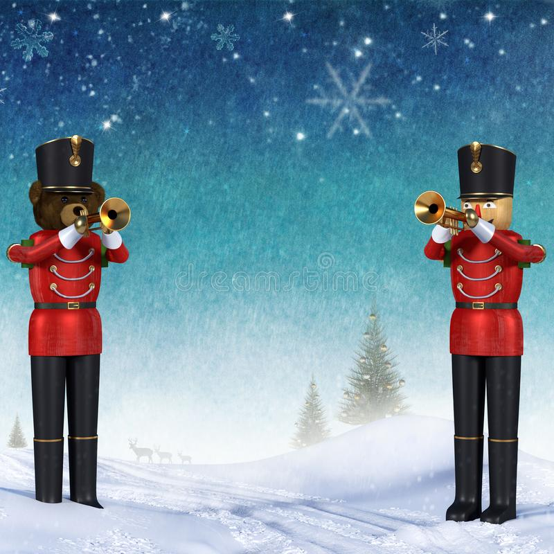 Zimy scena z dwa zabawkarskimi żołnierzami bawić się trąbki royalty ilustracja