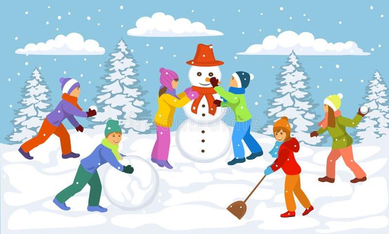 Zimy scena z dziećmi bawić się outside śnieżną piłkę, robić bałwan, mieć zabawę ilustracji