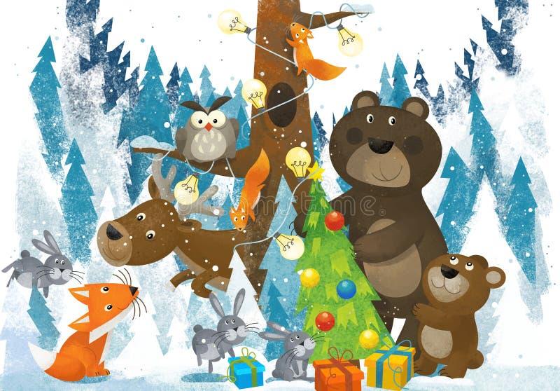 Zimy scena z lasowymi zwierz? reniferami znosi lisa i sowy blisko choinki - tradycyjna scena ilustracji