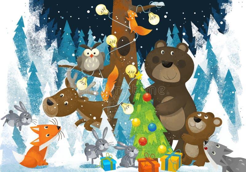 Zimy scena z lasowymi zwierz? reniferami znosi lisa i sowy blisko choinki - tradycyjna scena ilustracja wektor
