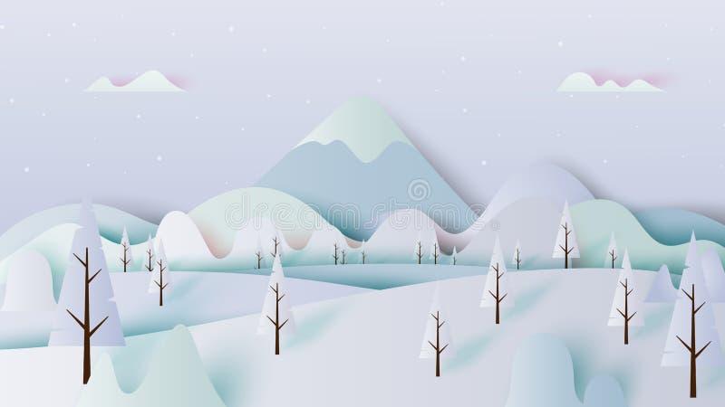 Zimy scenerii papieru sztuki krajobrazowy styl ilustracji