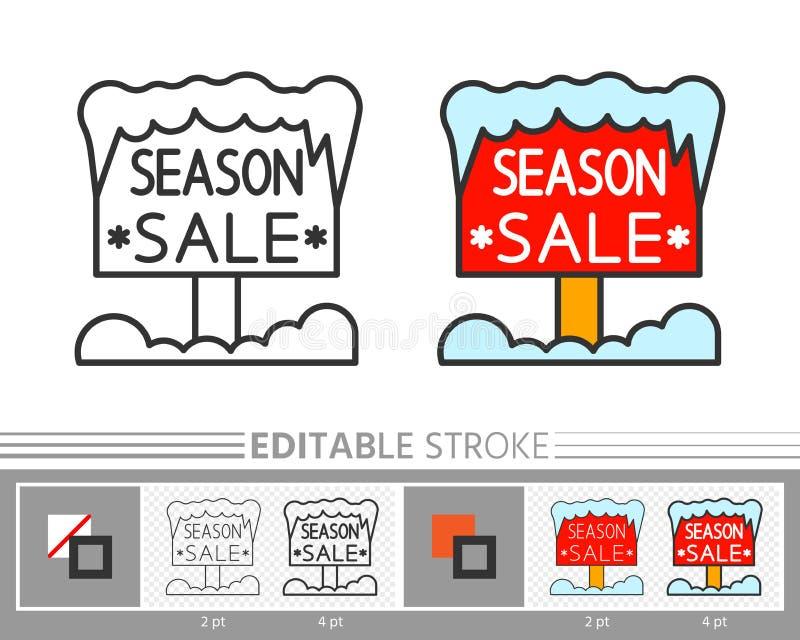 Zimy signboard sezonu drewnianej sprzedaży liniowa ikona ilustracja wektor