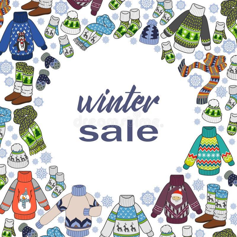 Zimy sprzedaż, doodles sezonowi odziewa na tle, kolor ulotki szablonie lub pocztówkach dla twój projekta białych, ilustracji