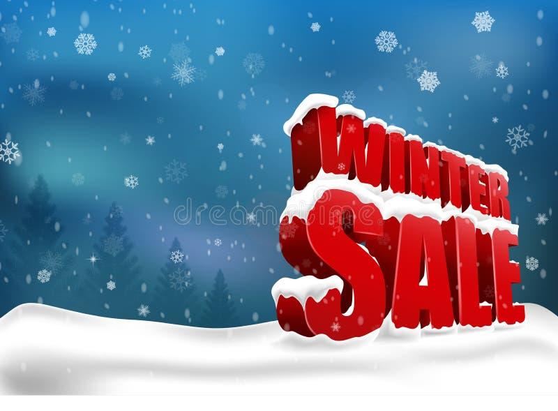 Zimy sprzedaż na bożych narodzeniach śnieżnych royalty ilustracja