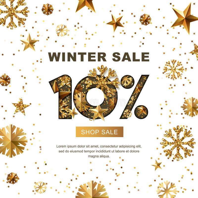 Zimy sprzedaż 10 procentów daleko, sztandar z 3d złotem gra główna rolę i płatki śniegu royalty ilustracja