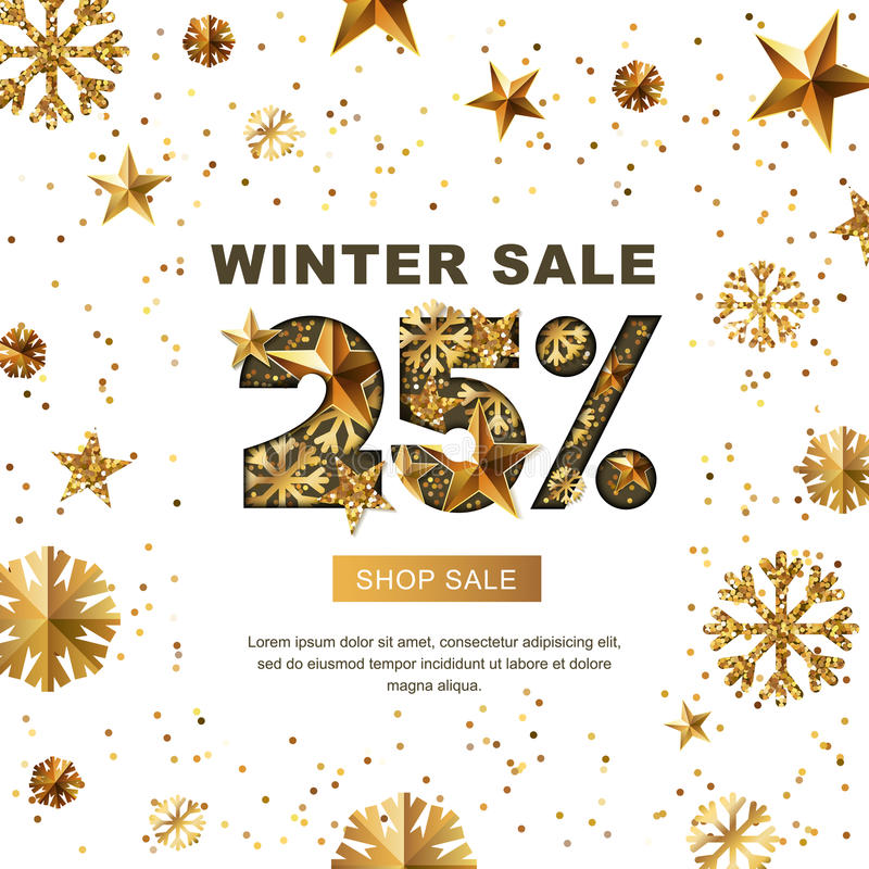 Zimy sprzedaż 25 procentów daleko, sztandar z 3d złotem gra główna rolę i płatki śniegu royalty ilustracja